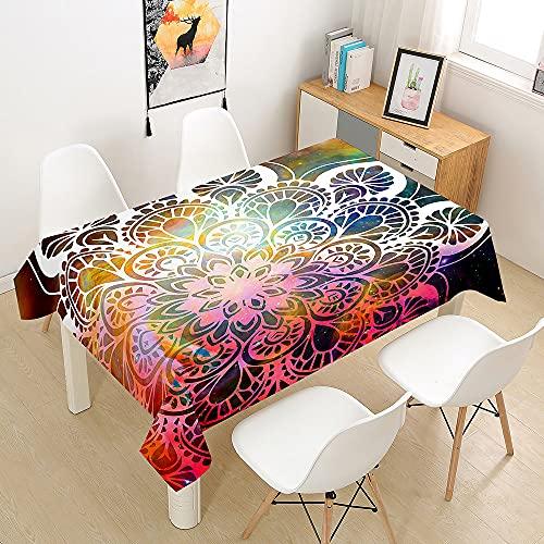 FANSU Mandala Manteles de Mesa Rectangular para Decorar, Impermeable Antimanchas Comedor Cuadrada de Impresión Manteles para Cocina/Cena/Picnic Decoración (Galaxia,140x260cm)
