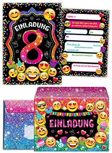 JuNa-Experten 12 Einladungskarten incl. 12 Umschläge zum 8. Kindergeburtstag für Mädchen / Einladung achte Geburtstag / Einladungen zum Geburtstag / Kartenset für Kindergeburtstag / Glitzer