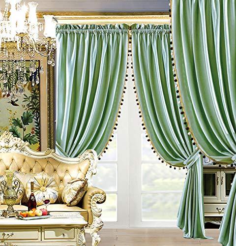 "Modern 4 - Piece Premium Quality Solid Sage Green Velvet Curtain Set, Drapes/Window Panels 116"" Wide X 84"" Tall"