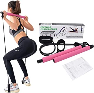 JHK Pilates Exercise Stick, Adjustable Exercise Resistance Band Yoga Pilates Bar Kit with Foot Loops for Total Body Workout, Yoga, Fitness, Stretch, Sculpt, Tone