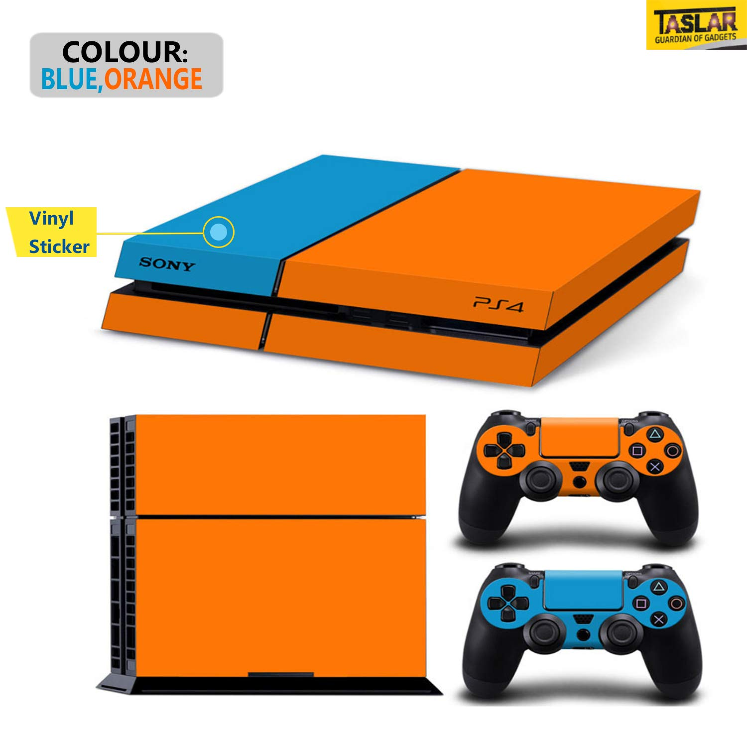 TASLAR Multicolor Vinyl Skin Decal Sticker Pattern Cover Set Compatible with PS4 Playstation 4 Console and Controller (Blue Orange)