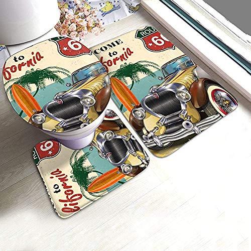 Odelia Palmer American Vintage Car Route 66 Bad Teppich Matten Set 3 Stück Dusche Bad Teppiche Contour Mat Deckel Toilettendeckel