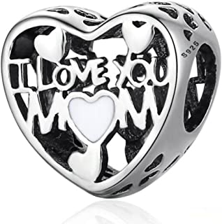 Eternalll Mom Mother Charm I Love Mom 925 Sterling Silver Charms Family Love Heart Charm Beads for European Bracelets (I Love You Mom Charms)