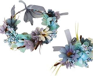 YAZILIND Floral Guirnalda de Encaje Elegante Diadema de