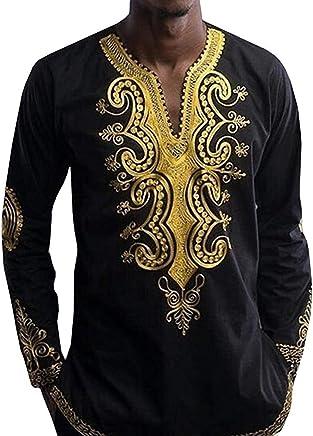 f05e8b4b3fc Hestenve Mens Dashiki African Shirt Long Sleeve Casual Stylish Tribal Print  Tops