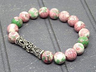 Bracciale da donna con perla tibetana centrale in filigrana e perle di giada tinta rosa e verde