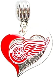 DETROIT RED WINGS HOCKEY TEAM HEART CHARM PENDANT FOR NECKLACE EUROPEAN CHARM BRACELET (Fits Most Name Brands) DIY ETC