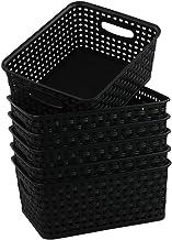 Asking 6-Pack Plastic Woven Storage Basket, Black