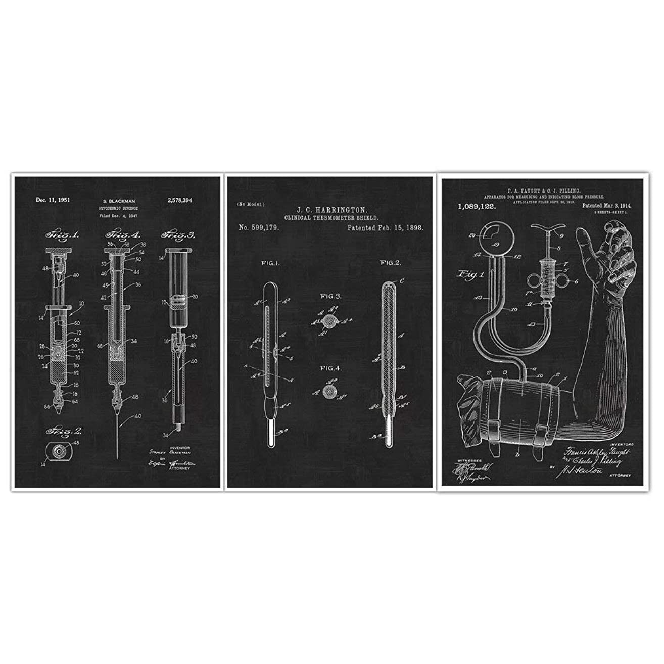 Blood Pressure Cuff, Syringe, Thermometer Blueprint Patent Print Poster