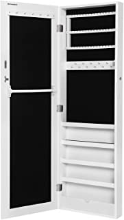 comprar comparacion Songmics Armario y Espejo 2 en 1 Joyero de pared 36 x 120 x 9,5 cm Color blanco JBC24W
