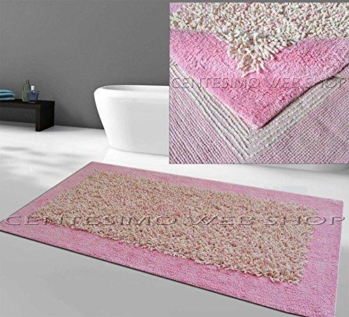 Centesimo Web Shop TAPPETO BAGNO 100% COTONE IN OFFERTA 70X140 cm ROSA SHAGGY ANTISCIVOLO 76SLRS