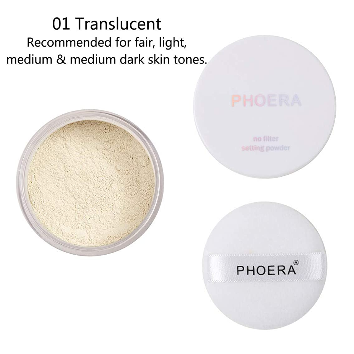 Yu2d ???? PHOERA Powder Loose Face Powder Translucent Smooth Setting Foundation Makeup(Multicolor A)