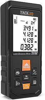 Telémetro láser profesional, TACKLIFE-S3-50m-Medidor láser de Preción ±1,5mm?Multimodos, Gran Ventana de Recepción, Reflector de Láser, Función de silencio