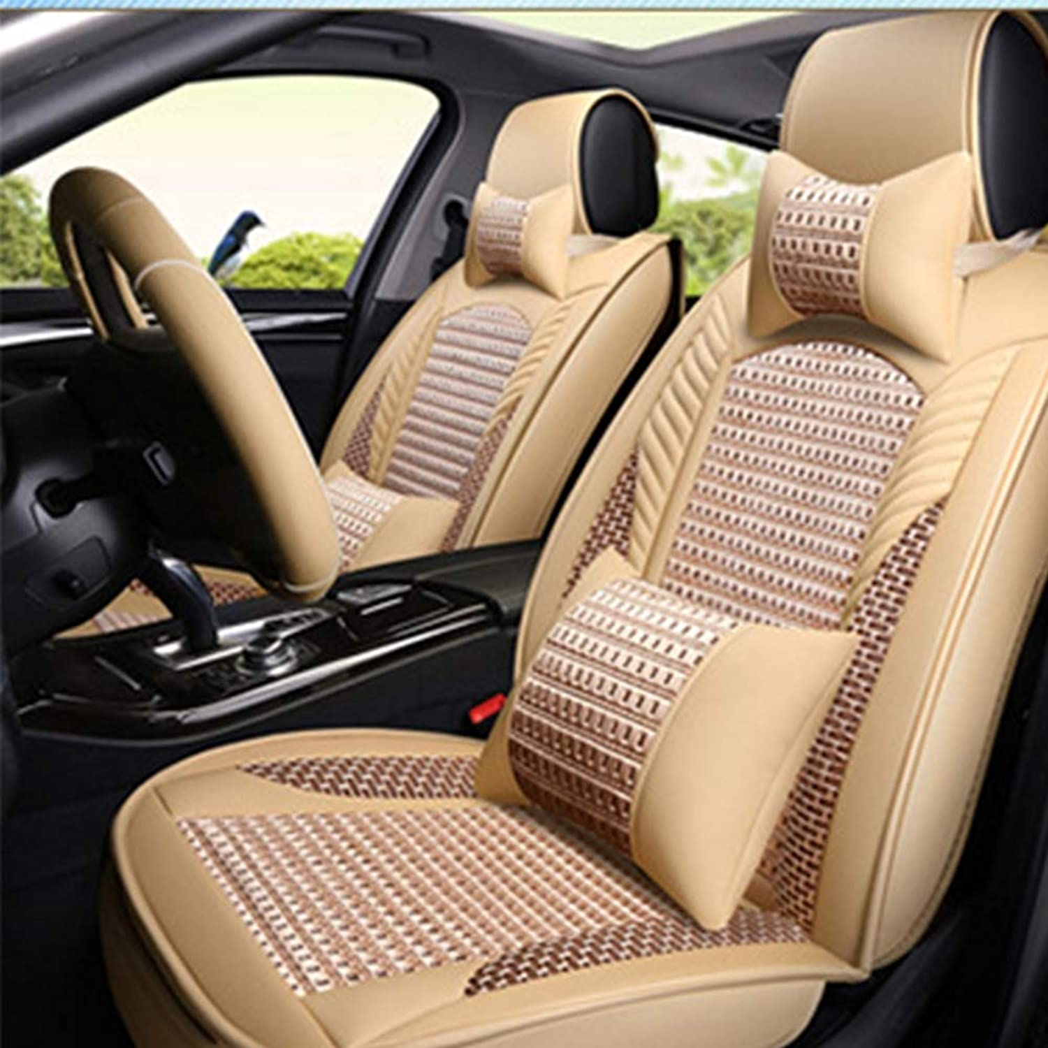 Car Seat Covers, Universal Seat Covers Leatherette Waterproof Breathable and Comfortable Seat Covers for Most Cars, SUV, and Vans,Beige