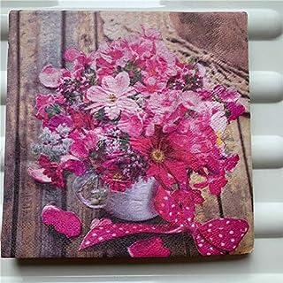HXQCZ 20 vintage Napkin paper elegant tissue handkerchief red pink flower pot decoupage servilletas wedding birthday party...