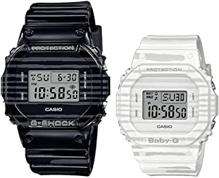 G-SHOCK and BABY-G- SLV-19B-1DR. His-and-Hers animal-themed pair models, on a zebra motif, with zebra patterns on the case...