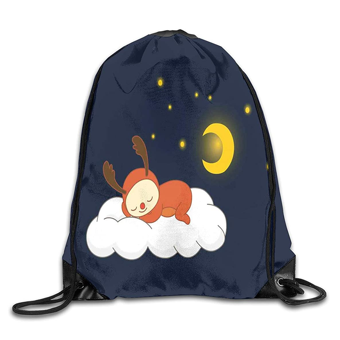 Drawstring Backpacks Bags,Reindeer Sleeping With Stars And Crescent Moon On Blue Shade Backdrop,5 Liter Capacity,Adjustable