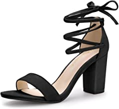 Allegra K Women's Open Toe Shoes Lace up High Chunky Heel Sandals