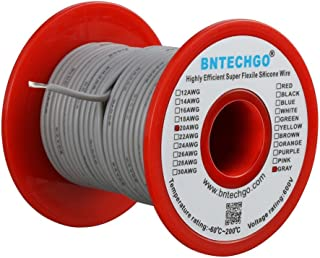 BNTECHGO 20 Gauge Silicone wire spool 50 ft Gray Flexible 20 AWG Stranded Tinned Copper Wire