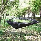 OneTigris – Hamaca de acampada ligera con mosquitera – Hamaca portátil para dormir – Mosquetones y cuerdas incluidos para mayor relax, mujer hombre, Camping Hammock, negro