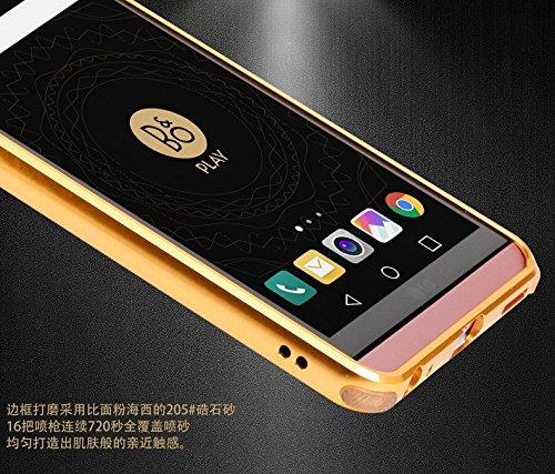 LG V20 Funda - Sunroyal® Mirror Oro Dorado Metal Frame Aluminum ...
