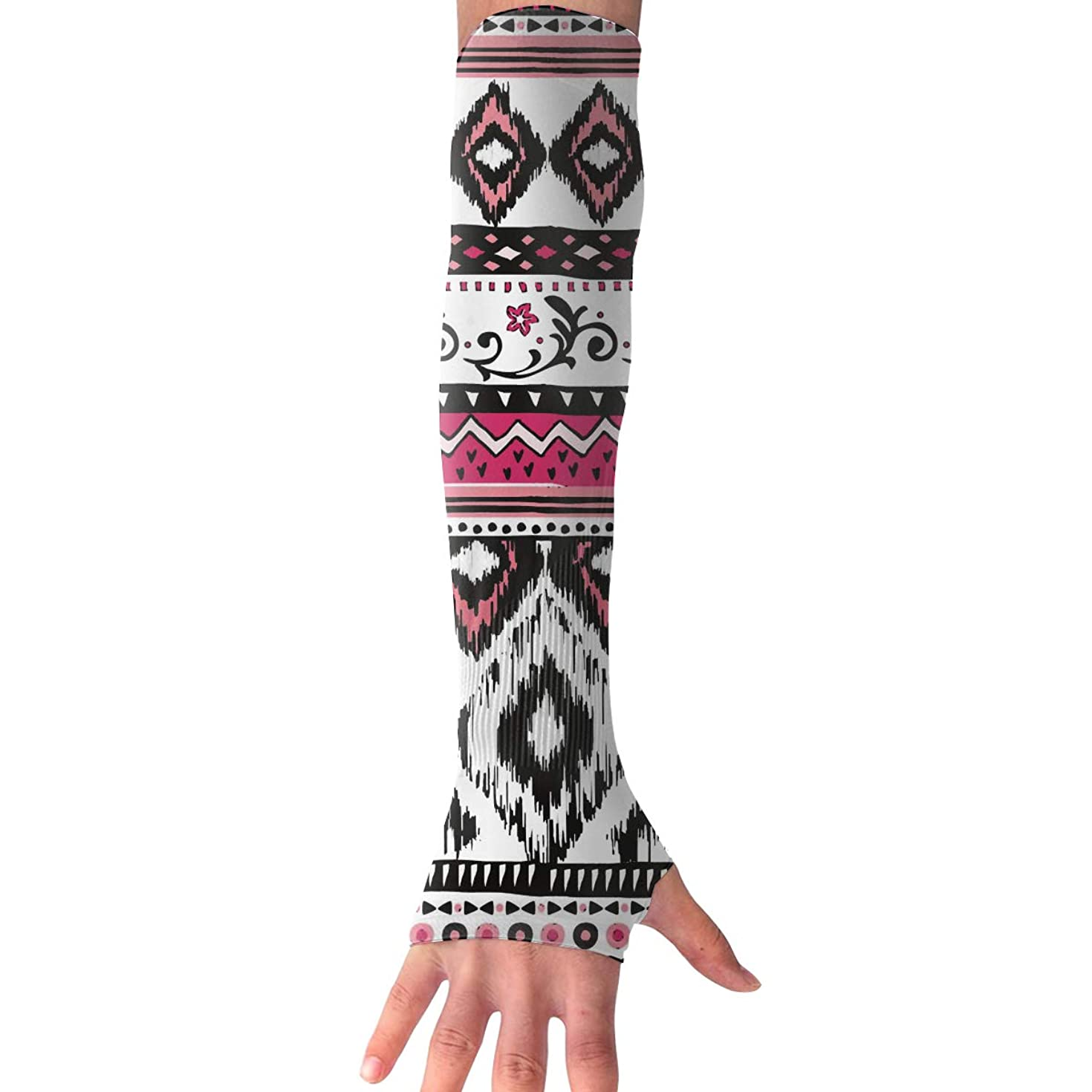 Sports Arm Sleeves Tribal Ethnic Print UV Sun Protection Arm Sleeves with Thumb Holes Cooling Arm