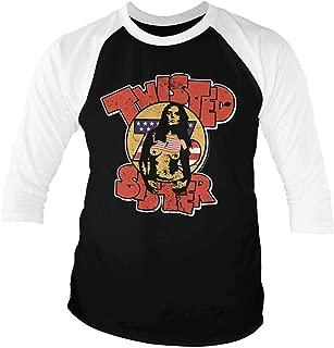 Twisted Sister Baseball Shirt Band Logo 76 Official Mens Black 3/4 Sleeve