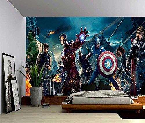 TWIN ZONE Photo Wallpaper Wall Mural Woven Self-Adhesive Art Avengers Marvel Iron Man M05, Non Woven 6 Stripes