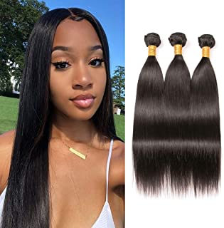 Brazilian Straight Hair Bundles 12 14 16 inch 10A Grade 100% Unprocessed Virgin Straight Human Hair 3 Bundles Weave Extension Natural Color Can be Dyed