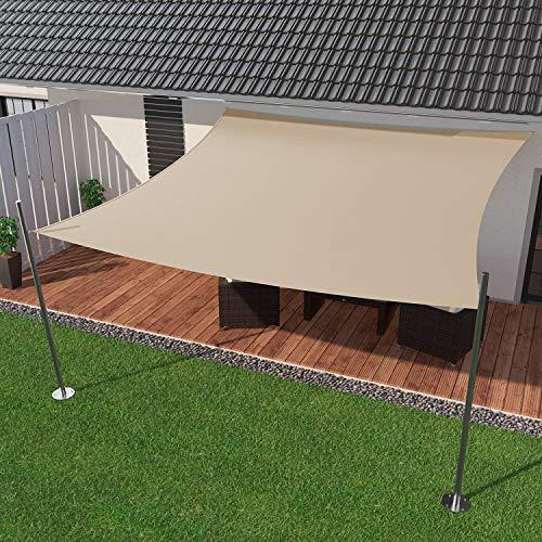 IBIZSAIL Sonnensegel wasserabweisend Sonnenschutz für Garten Balkon aus PES rechtwinklig-300 x 200 cm-Sand(inkl. Spannseilen)