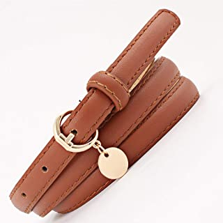 WMWLUO Thin Belt Ladies Imitation Leather Thin Belt Pendant Wild Personality Belt Student Belt (Color : Orange)