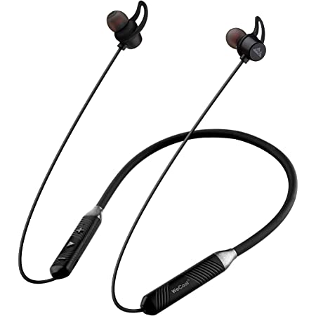 WeCool N1 Bluetooth Headphones with Dynamic Drivers for Immersive Music Experience, IPX5 Sweatproof, 12 Hours Playtime, Flexible Neckband Earphones (Black)
