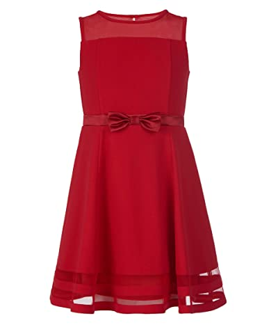 Calvin Klein Sleeveless Mesh Lace Party Dress With Bow