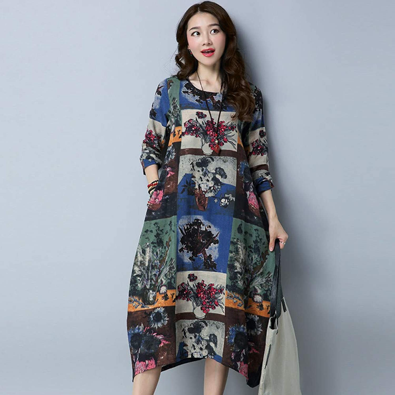 Cxlyq Dresses Floral Dress Autumn Autumn Long Sleeve Slim Cotton and Linen Women's Dress