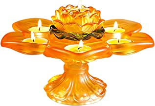 Candlestick Holders Glass,Colored Glaze Seven-Star Lotus Candle Stand Ornaments, Household Candelabras for Buddha, Candlel...