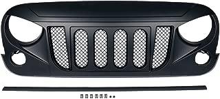 Xprite Matte Black Transformer Front Grille Grid Grill w/Mesh For 2007-2018 Jeep Wrangler Rubicon Sahara Sport JK