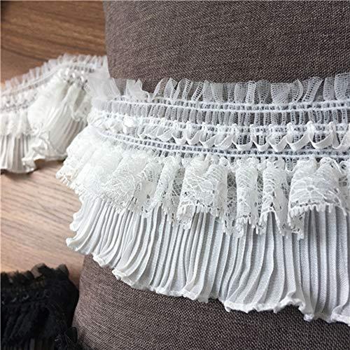 Vestido de encaje plisado con ribete elstico para disfraz de cuello, cinta y dobladillo para nia, se vende por 1 yarda (blanquecino)