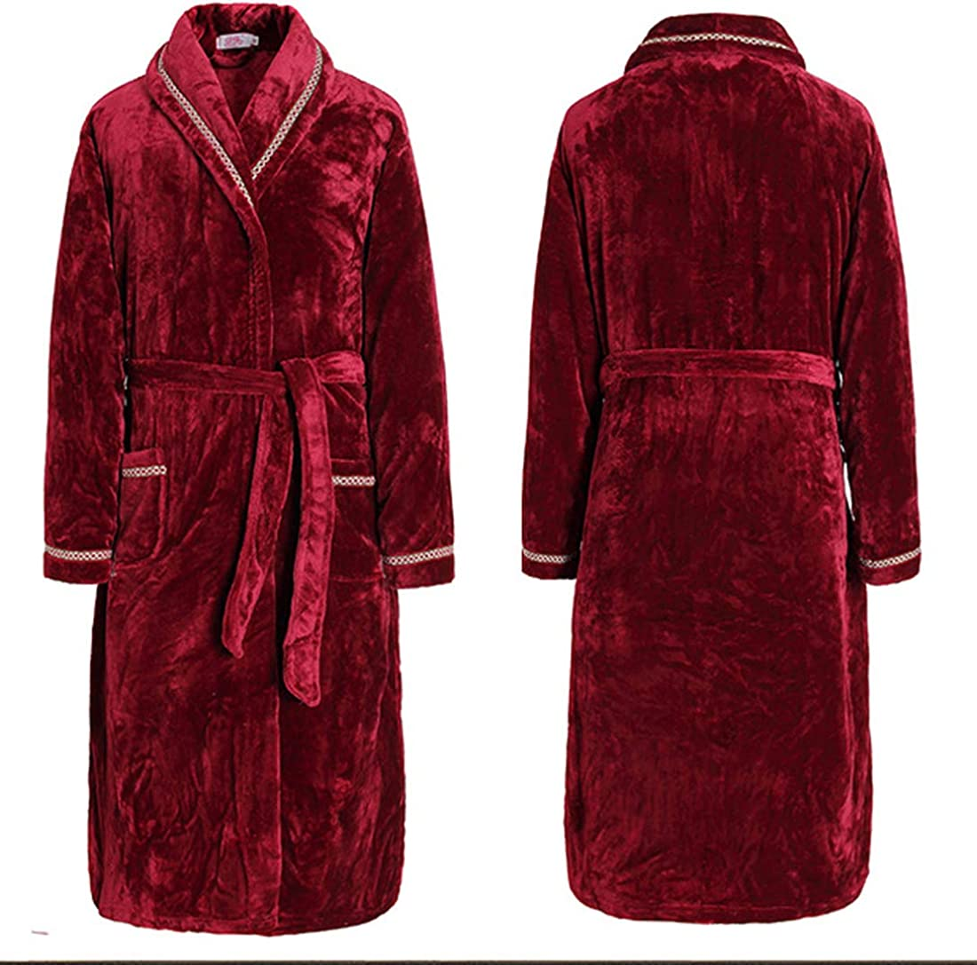 SWHRIOPD Mens Luxury Super Soft Flannel Dressing Gown Shawl Collar Mens Bathrobe Warm and Cozy Unisex