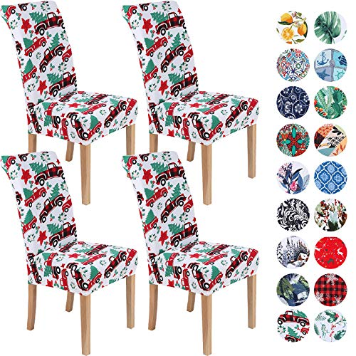 Colorxy Spandex Chair Covers for Dining Room Set of 4, Stretch Printed Chair Protectors Covers, Removable and Washable, Christmas Tree and Truck
