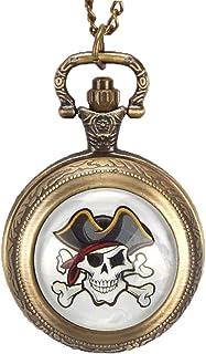 Nfudishpu Reloj Bolsillo una Pieza con Calavera Pirata, Reloj Bolsillo Bronce niños, Collar, Reloj Bolsillo, Regalo