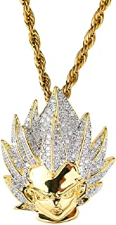 Hip Hop Dragon Ball Goku Ice Out Pendant Simulated Diamond Chain 18K Gold Plated Necklace for Men Women Kids