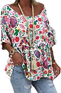 neveraway Women Relaxed O-Neck Blouse Printed Oversized 3/4 Length Tee Shirt