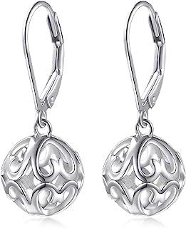 S925 Sterling Silver Heart Dangle Drop Stud Earrings for Women Girl
