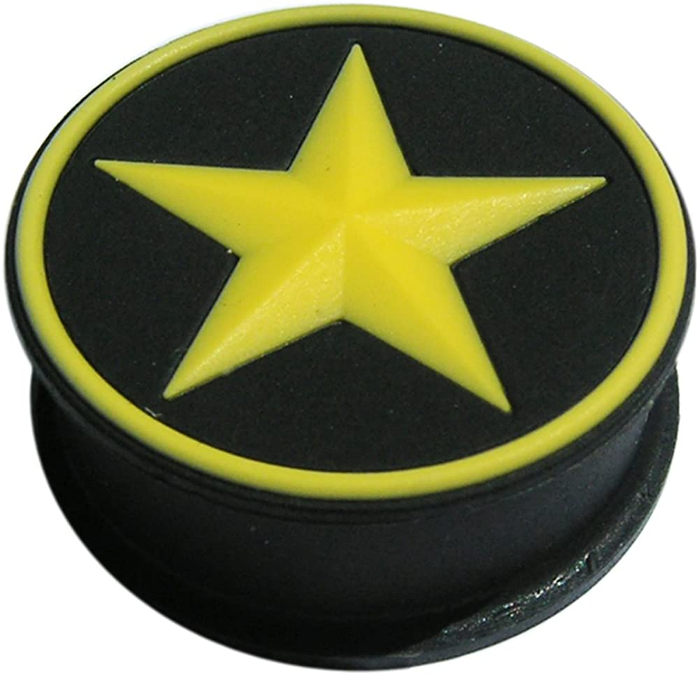 AtoZ Piercing Black Silicone Color Changeable to Yellow Star Under Sunlight Tunnel Gauge Ear Plug - Sold by Piece