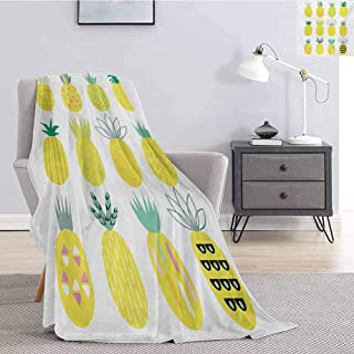 Luoiaax Pineapple Bedding Microfiber Blanket Collection of Pineapples with Different Patterns Lines Rhombuses and Zigzags Super Soft and Comfortable Luxury Bed Blanket W80 x L60 Inch Multicolor