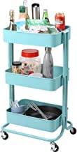 Racksphile 3-Tier Metal Rolling Storage Cart Multifunction Heavy Duty Rolling Utility Cart with Lockable Wheels Mesh Baskets Trolley Organizer Cart for Bathroom Kitchen Kids' Room Laundry Room (Blue)