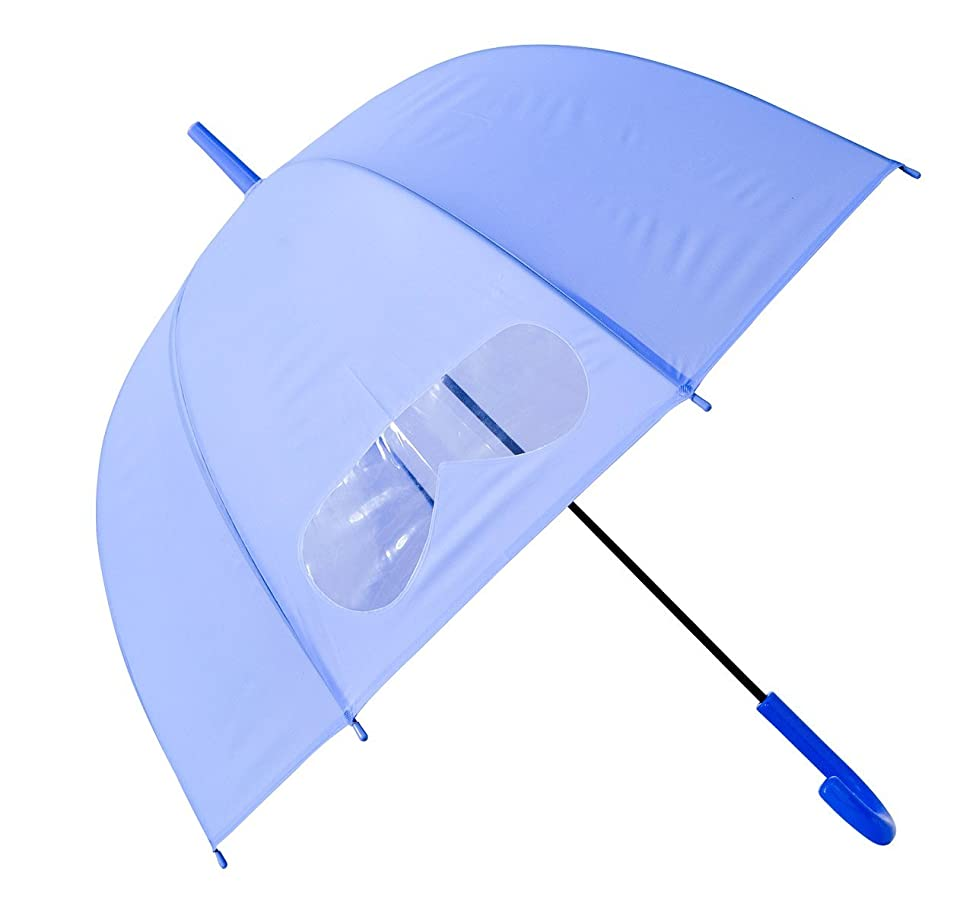 Kids Umbrella Windproof, HAOCOO Auto Open Bubble Dome Umbrella Sun Rain Compact 8 Stick Umbrella Canopy for Boys Girls Outdoor with Clear Window Panel (Purple)