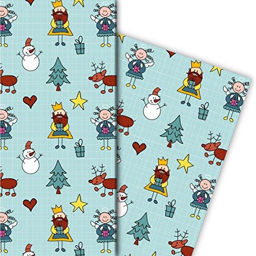 Modern kerstcadeaupapier set (4 vellen), decoratiepapier, papier om in te pakken met hart engel Koning en rendieren voor leuke geschenkverpakking en verrassingen 32 x 48 cm