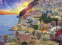 大人と子供のためのDiy5Dダイヤモンド絵画キットアート、海辺のタウンテラスバルコニービュー、壁の装飾のためのツールアクセサリーを備えたフルドリルラウンドダイヤモンド刺繍クロスステッチクラフトセット-40x50cm