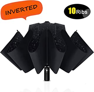 Inverted Windproof Umbrella with Teflon Coating, 10 Ribs Auto Open and Close Travel Umbrella, Portable Reverse Umbrellas with Leather Cover